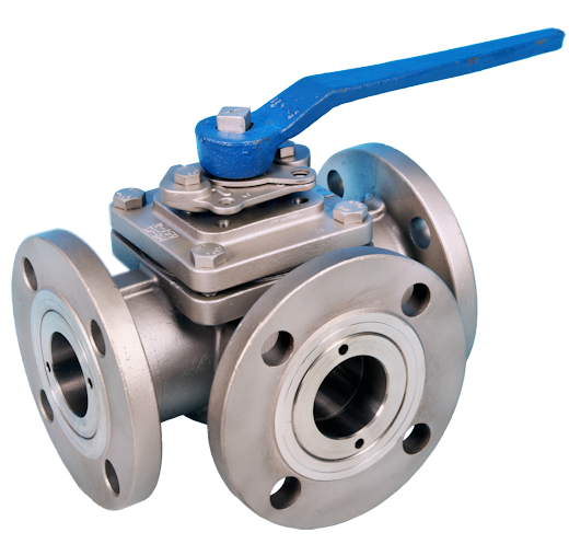 3-Way Flanged ANSI 150lb Full Bore Ball Valve ETG F3WL-150, ETG F3WT-150