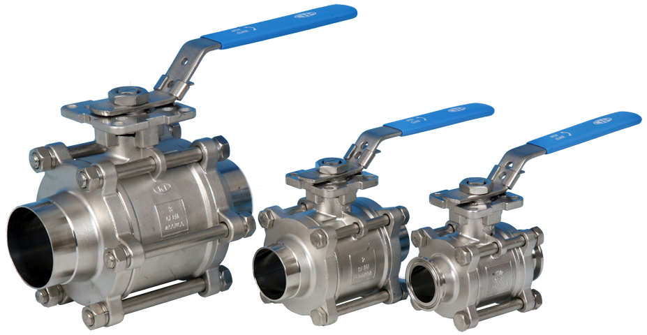 Full Bore Hygienic/Sanitary Cavity Filled Direct Mount Ball Valve with Weld and Clamp Ends