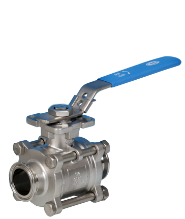 Stainless Steel 3-Pce Full Bore Sanitary Actuated Ball Valve Clamp End Connections