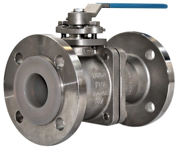 Stainless Steel PFA Lined 2-Pce Full Bore Flanged PN16 Ball Valve NTC KV-N44K
