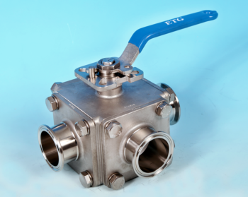 3-Way Sanitary Clamp End Direct Mount Ball Valve
