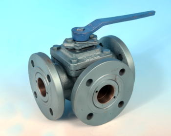 Cast Iron 3-Way Flanged DIN PN16 Full Bore Ball Valve