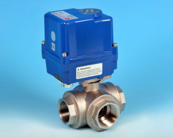 Stainless Steel Electric Actuators 3-Way Reduced Bore Actuated Ball Valve BSP Screwed End Connections