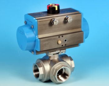 Stainless Steel Pneumatic Actuators 3-Way Reduced Bore Actuated Ball Valve BSP Screwed End Connections