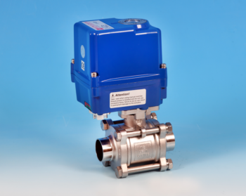 Stainless Steel Electric Actuators 3-Pce Full Bore Sanitary Actuated Ball Valve Butt Weld O/D End Connections