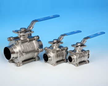 Stainless Steel 3-Pce Full Bore Sanitary Cavity Filled Direct Mount Ball Valve