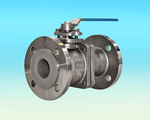 stainless steel PFA Lined 2-Pce Full Bore Flanged ANSI 150 Ball Valve