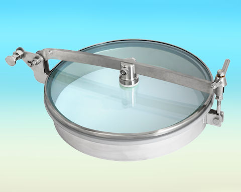 T1/G400 Stainless Steel 400mm Low/Non-Pressure Round Manway with glass lid 304L