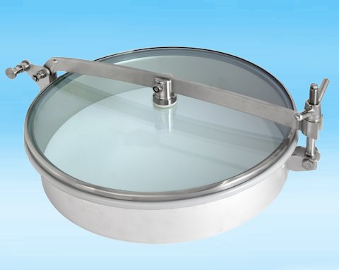 T1/G500 Stainless Steel 500mm Low/Non-Pressure Round Manway with glass lid 304L