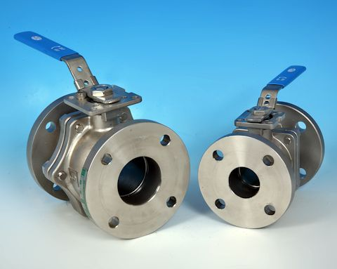 stainless steel 2-Pce Full Bore Flanged BS10 Table E Direct Mount Ball Valve