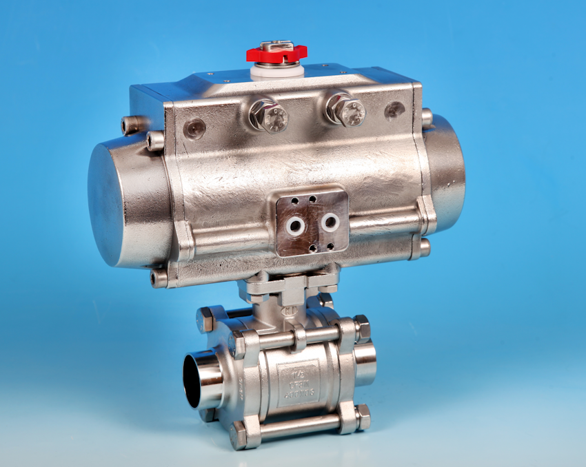 Actuated Ball Valve 3 Pce Full Bore Sanitary Butt Weld O D